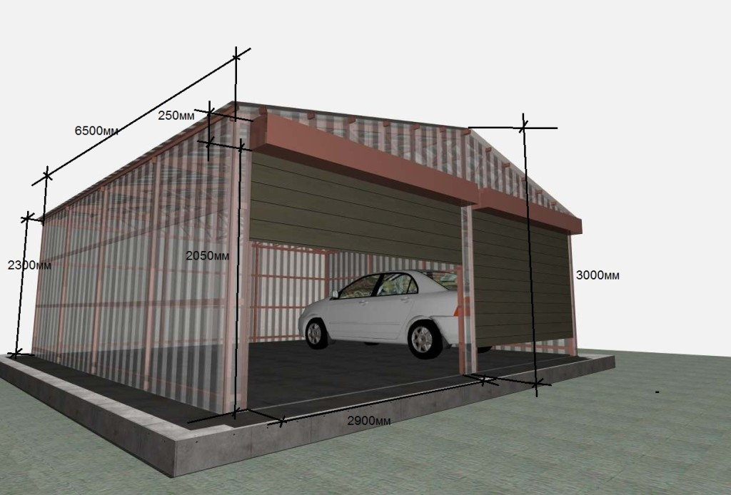 Как построить гараж своими руками с профнастила 93