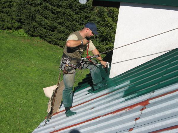 Покраска крыши из профнастила