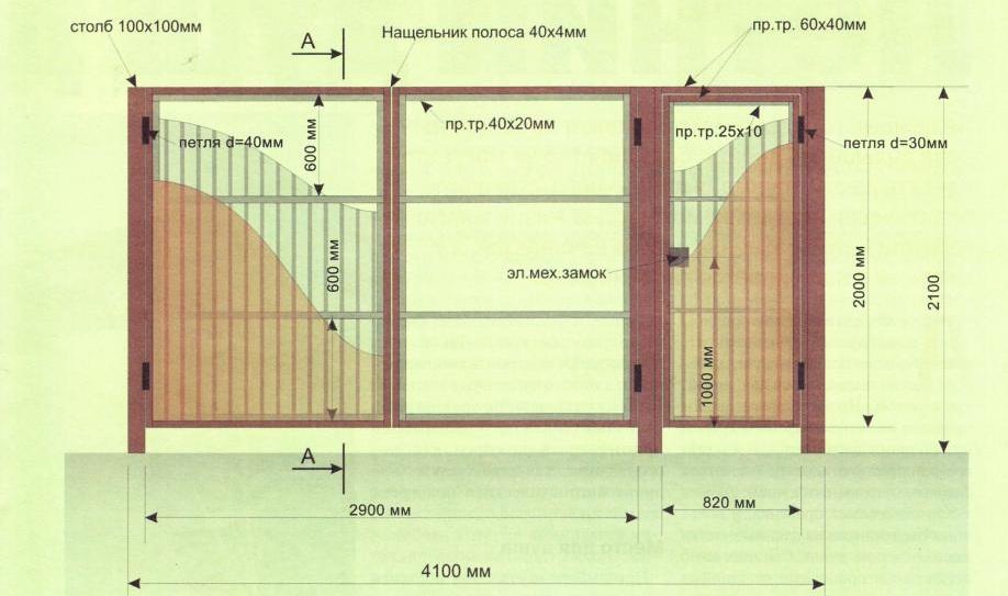 Схема распашных ворот из профлиста
